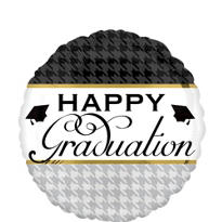 Foil Houndstooth Graduation Balloon 18in