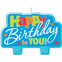 Blue Happy Birthday to You Candle 4in