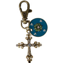 Vintage Rosette and Cross Key Chain