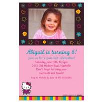 Neon Hello Kitty Custom Photo Invitation