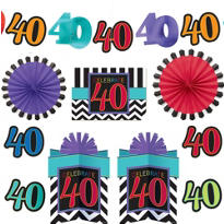 Celebrate 40th Birthday Room Decorating Kit 10pc