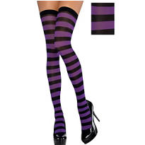 Adult Purple and Black Thigh-High Stockings