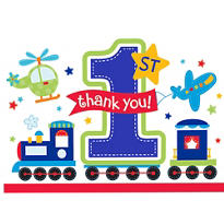 All Aboard 1st Birthday Thank You Notes 8ct