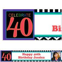 Custom 40th Celebration Photo Banner 6ft