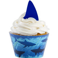 Shark Cupcake Wrappers and Picks for 12