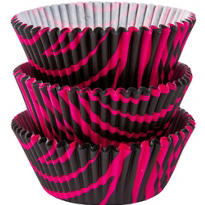 Hot Pink & Black Zebra Baking Cups 75ct