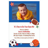 Sports Party Custom Photo Invitation