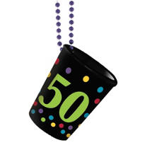 50th Birthday Shot Glass Bead Necklace