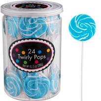 Swirly Caribbean Blue Lollipops 24pc