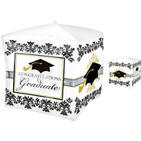 Cubes Black & White Graduation Balloon