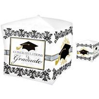 Cubes Black & White Graduation Balloon