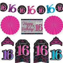 Celebrate Sweet 16 Room Decorating Kit 10pc