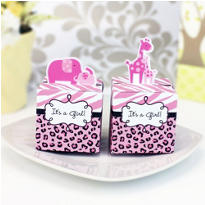 Pink Safari Baby Shower Favor Boxes 24ct