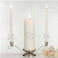 White Hearts Unity Candle Set 3pc