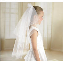 White Double Layer Wedding Veil