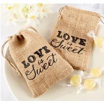 Love is Sweet Burlap Drawstring Favor Bags
