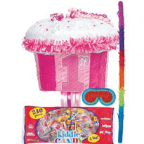 Pull String 1st Birthday Cupcake Pinata Kit