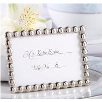 Silver Pearl Photo Frame Place Card Holder