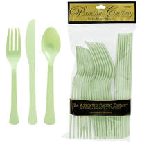 Leaf Green Premium Plastic Cutlery Set 24ct