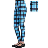 Child Geek Chic Blue Plaid Leggings
