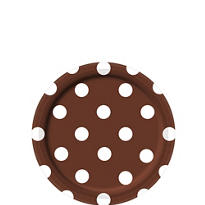 Chocolate Brown Polka Dot Dessert Plates 8ct