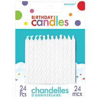 White Candy Stripe Birthday Candles 24ct