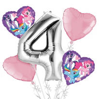 My Little Pony 4th Birthday Balloon Bouquet 5pc