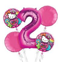 Rainbow Hello Kitty 2nd Birthday Balloon Bouquet 5pc