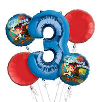 Jake and the Never Land Pirates 3rd Birthday Balloon Bouquet 5pc