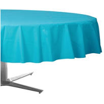 Caribbean Blue Plastic Round Table Cover