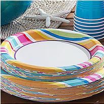 Striped Border Value Plates & Tableware