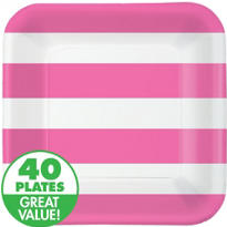 Pink Cabana Stripe Value Plates & Tableware