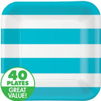 Caribbean Blue Cabana Stripe Value Plates & Tableware