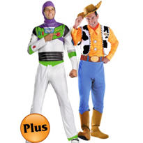 Plus Size Buzz Lightyear and Deluxe Plus Size Woody Toy Story Couples Costumes