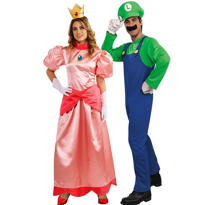 Deluxe Luigi and Deluxe Princess Peach Super Mario Brothers Couples Costumes