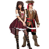 Sexy Swashbuckler and Elite Captain Skullduggery Pirate Couples Costumes