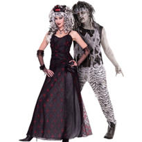 Prom Zombie and Rock Star Zombie Couples Costumes
