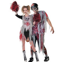 Zombie Cheerleader and Football Player Couples Costumes