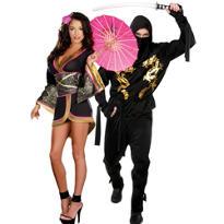 Geisha Glam and Black Dragon Ninja Couples Costumes