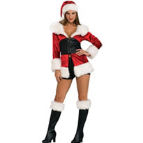 Adult Sexy Lace Up Ms. Santa Costume