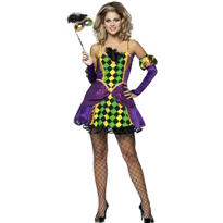 Adult Mardi Gras Harlequin Queen Costume