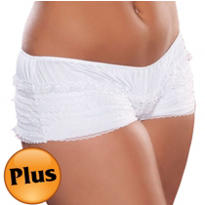 Adult White Ruffled Boyshorts Plus Size