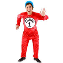 Adult Thing 1 and Thing 2 Jumpsuit Costume - The Cat in the Hat