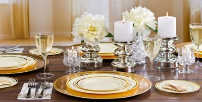 Cream Gold Premium Tableware & Cream Gold Premium Tableware | Party City