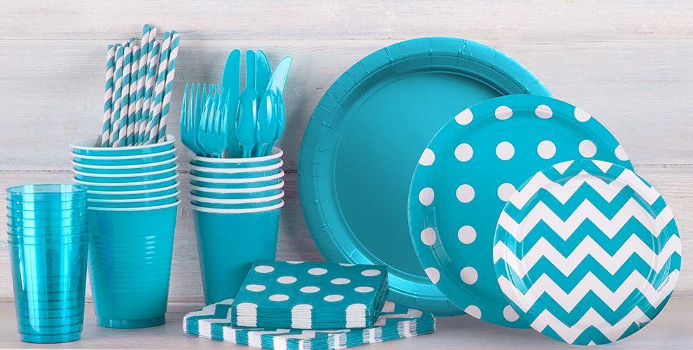 Caribbean Blue Polka Dot and Chevron Tableware