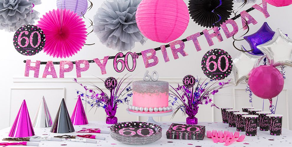 Pink Sparkling Celebration 60th Birthday Party Supplies