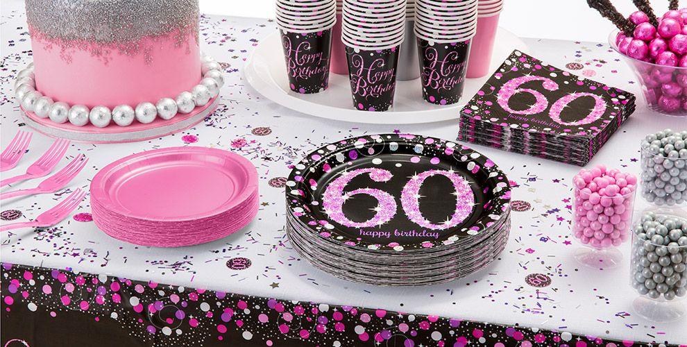 Patterned Tableware 50% OFF MSRP — Pink Sparkling Celebration 60th Birthday Party Supplies