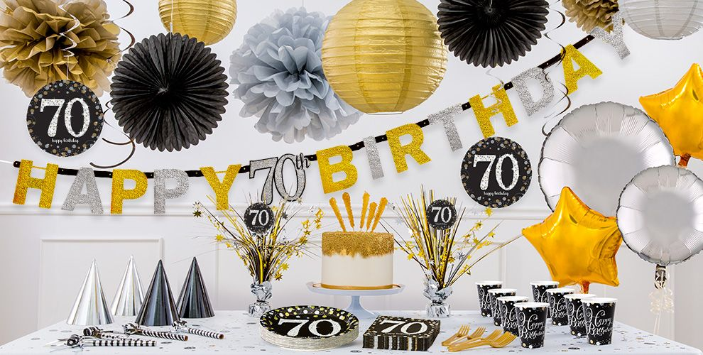 Sparkling celebration 70th birthday party supplies party for Decoration 70