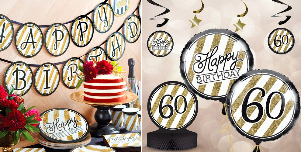 White and Gold Striped 60th Birthday Party Supplies