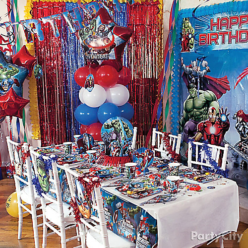 Avengers Party Table Idea  sc 1 st  Party City : fun table setting ideas - Pezcame.Com